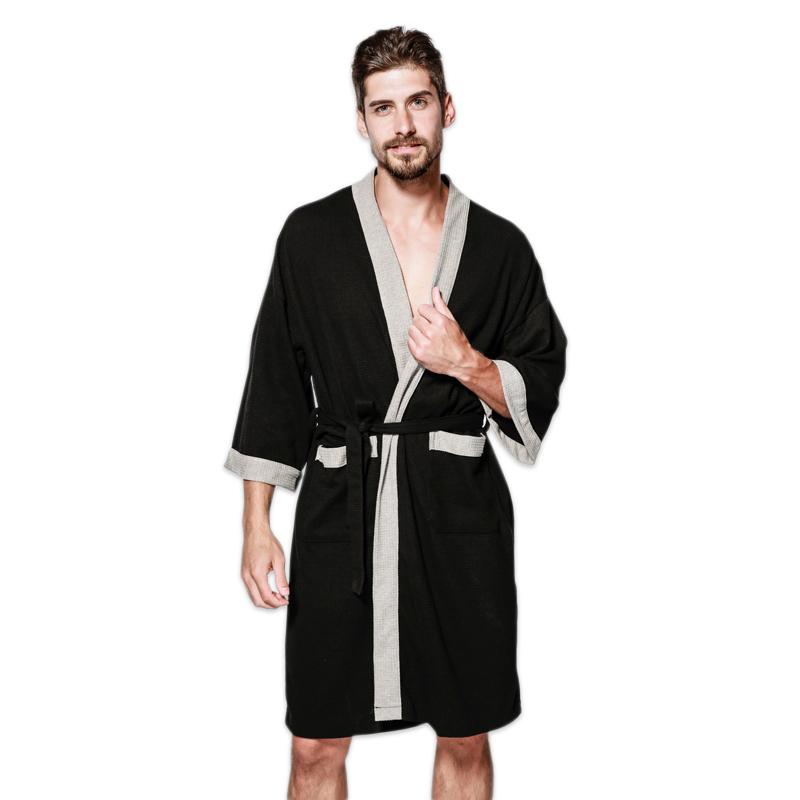 Casual Waffle Knit Cotton Male Robes Bathrobes Long-sleeved Sauna SPA Bathrobes Roupao Lovers Kimono Pajama Robes Men Plus Size