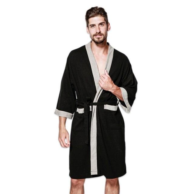 Casual waffle knit cotton male robes bathrobes long-sleeved Sauna SPA  bathrobes roupao lovers kimono a53e1f339