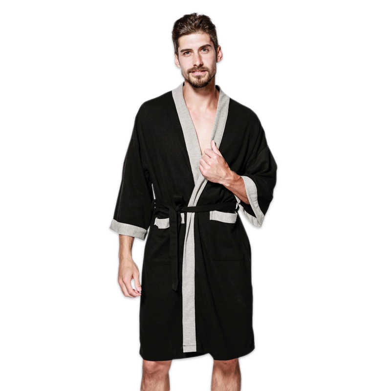 81b8ee45c8 Casual waffle knit cotton male robes bathrobes long-sleeved Sauna SPA  bathrobes roupao lovers kimono