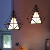 Vintage Pendant Lights Diamond Cage Pendant Lamp Kitchen Fixtures Black Cage Hanglamp avize luminaria Home Lighting Lamp
