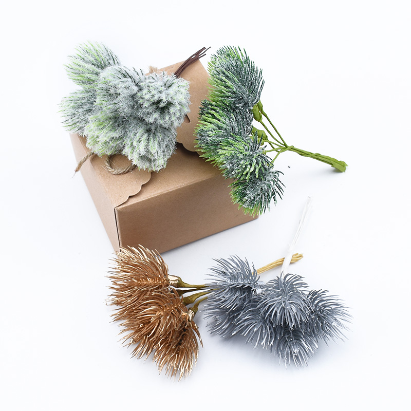 6 Pieces Pine Needle Christmas Decorations For Home Wedding Bridal Accessories Clearance Diy Gifts Box Crafts Artificial Plants