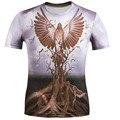 2017 La Más Nueva Manera Marca T-shirt Hip Hop 3d águila De Impresión de Gran tamaño M-5 xl 3d camiseta Del Verano Camisetas Frescas Tapas Marca clothing