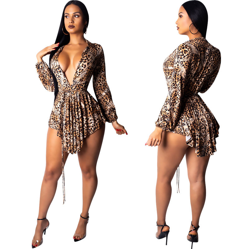Women Leopard Sexy Pleated Mini Dress Slim Bodycon V neck Dress Women Elegant Party Vestidos Winter Robe Femme Club Outfit in Dresses from Women 39 s Clothing