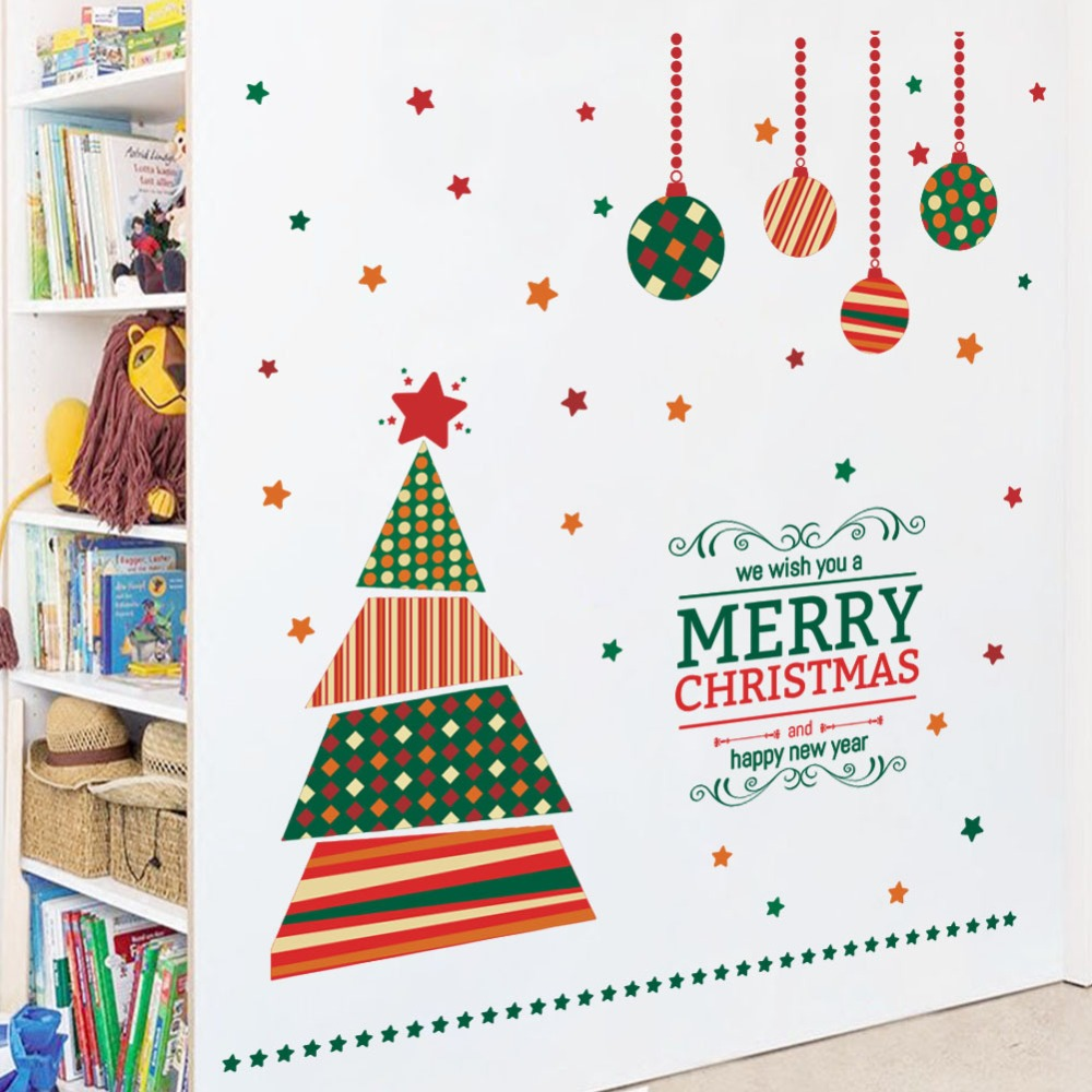 Us 6 55 18 Off Cartoon Christmas Tree Wall Stickers Living Room Kids Room Bedroom Showcase Window Glass Vinyl Decals Art Xmas New Year Murals In