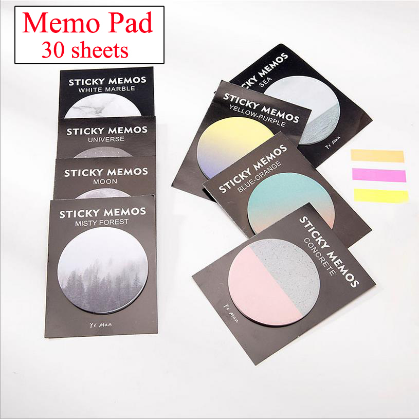 8 pcs/lot 30 Sheets Kawaii Cute Neptune Round Shape Post It Memo Pad Stickers Sticky Notes Bookmarks Stationery stickers 01887