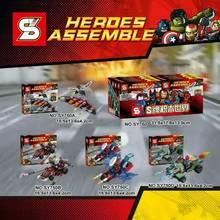 SY750 4pcs/lot ninjagoes super hero Ant-Man spider-man Vision junter building blocks action figures Minifigures baby toys gift