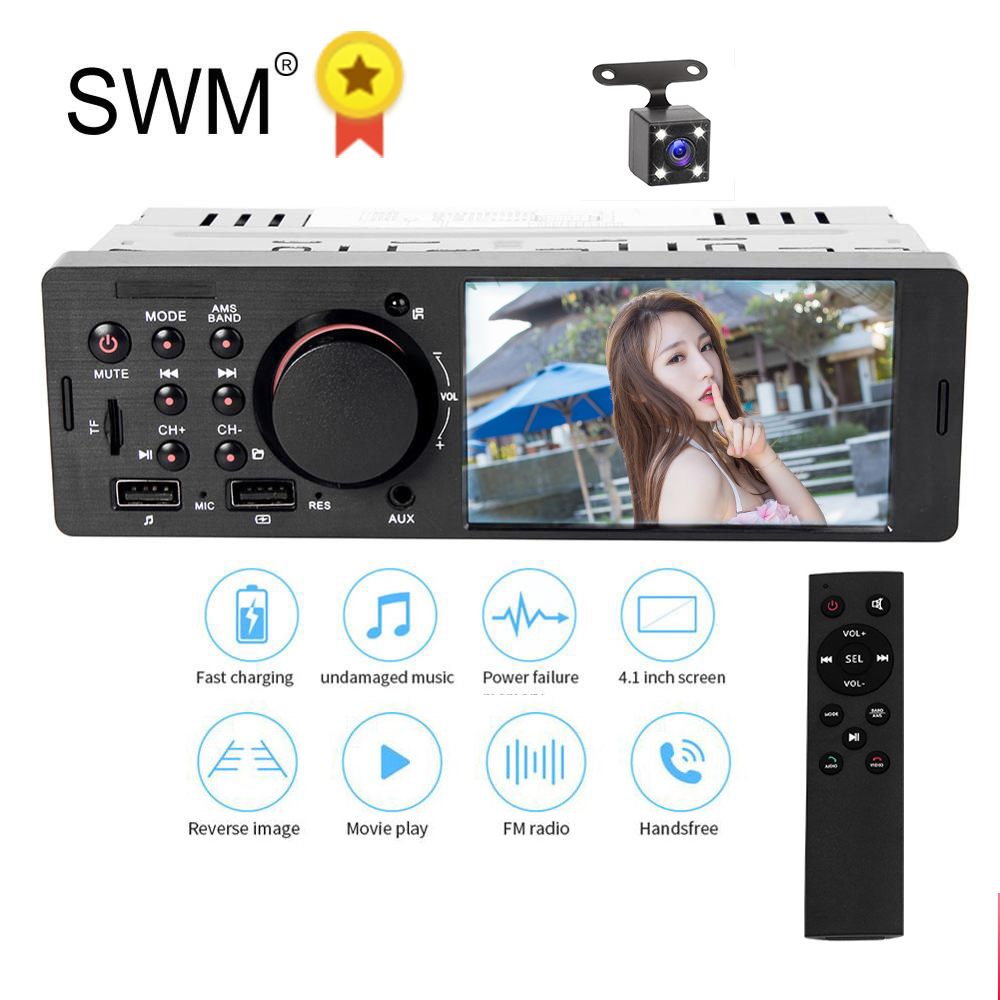 1 Din Car Radio Stereo Autoradio Auto Radio Para Coche USB Bluetooth Handsfree MP5 Player Reverse Image Car Stereo 1din Radio image