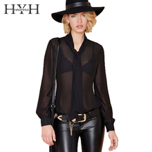 HYH HAOYIHUI Black Women Blouse Long Sleeve Bow Neck Front Tie Casual Tops Slim Sheer Vintage Blouse See Through Lady Clothing foldover neck belted bow tie sleeve blouse