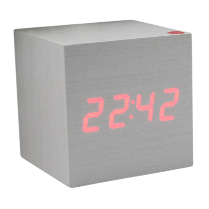 PHFU Wood Cube LED Alarm Control Digital Desk Clock Wooden Style Room Temperature White wood Red led