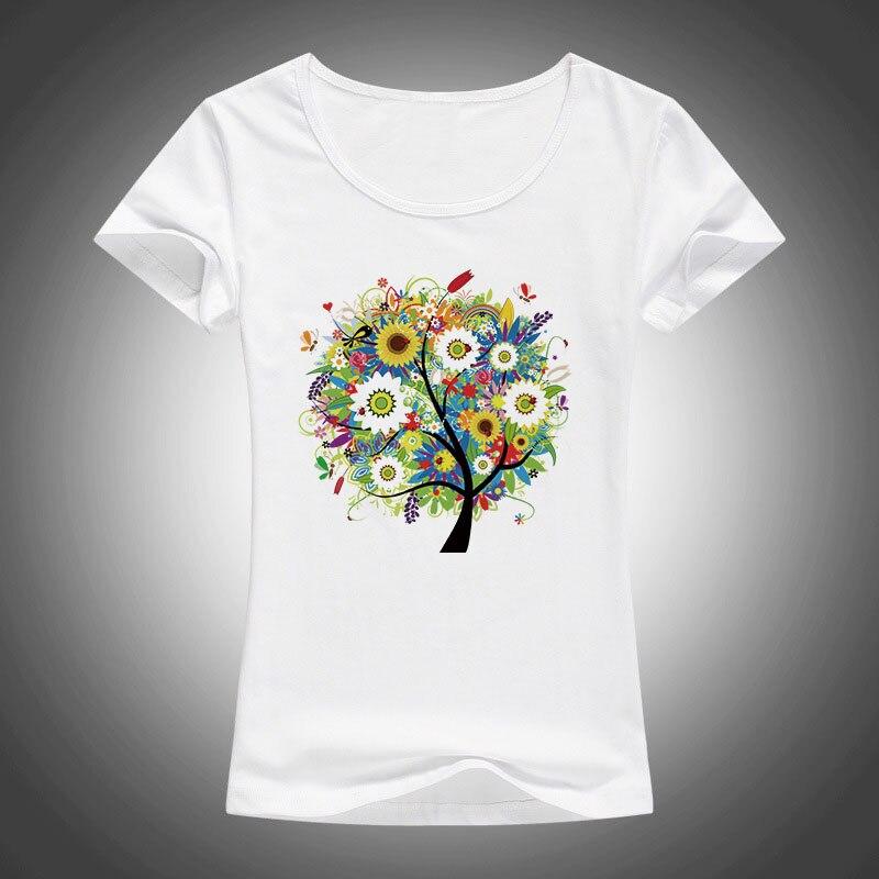 2017 Sommer Schöne Blumen Pflanzen Bäume Gedruckt T Shirt Frauen Tops T-shirt Kurzarm Mode T-shirt F13