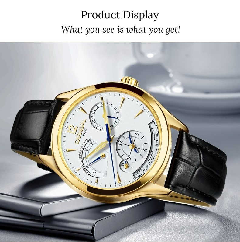 Original CARNIVAL Fashion Men Watch Top brand Multifunction Automatic Watch Men Calendar Waterproof Luminous Mechanical watches 12
