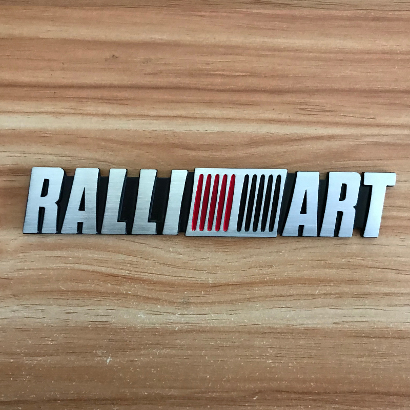 JDM Brushed aluminum car <font><b>sticker</b></font> for RALLIART logo Tail Fender <font><b>Stickers</b></font> for mitsubishi evolution <font><b>Lancer</b></font> <font><b>10</b></font> evo Asx accessories image