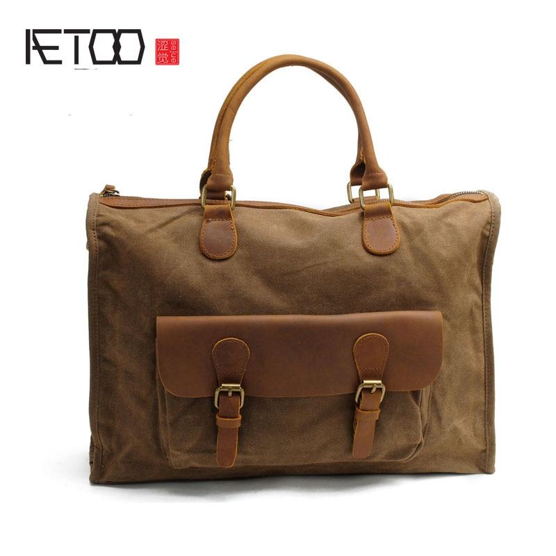 AETOO Batik cloth male bag retro shoulder bag Messenger bag with leather canvas business document computer bag casual handbag
