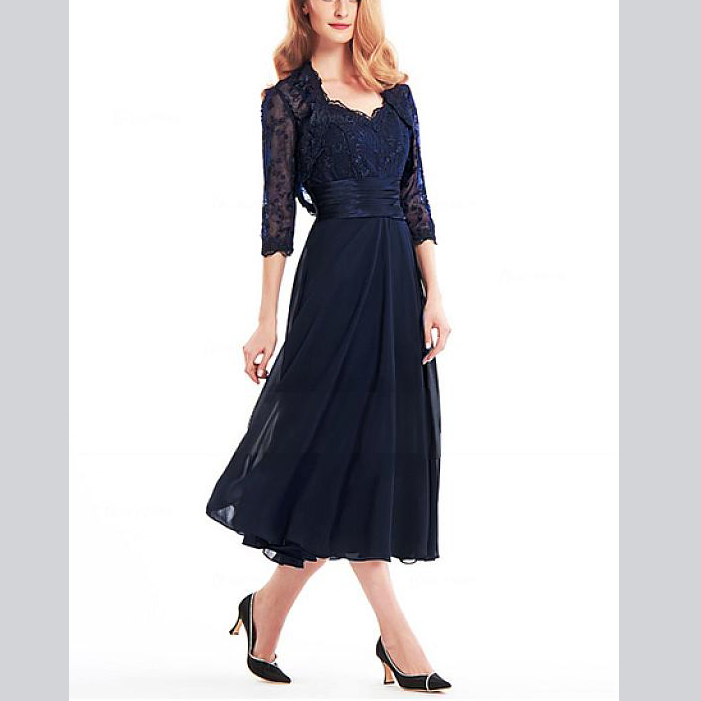A-line Navy Blue Flowers Sash Beading Ankle-Length Chiffon With Jacket Custom-Made Mother Of The Bride Dresses Plus Size