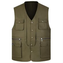 Plus Size S-3XL Men Vest Spring Jacket Cotton men Multi Pockets Photography