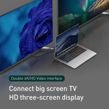 Baseus Usb タイプ C ハブ 3.0 USB HDMI RJ45 USB ハブ Macbook Pro のアクセサリーの Usb スプリッタ多 11 ポートタイプ C ハブ USB-C ハブ