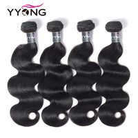 Yyong cheveux 4 paquets péruvienne vague de corps cheveux humains armure Remy péruvienne cheveux armure paquets 4 pièces 8-30 pouces Tissage péruvien