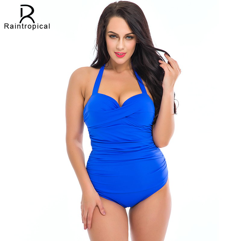 42c2b53eafcf1 One Piece Swimsuit Plus Size Swimwear Women 2019 Summer Beach Wear Halter  Push Up Bathing Suit