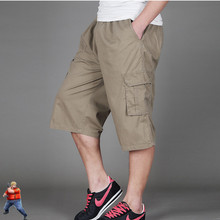 Cargo Shorts Men Khaki Black Grey Cotton Clothing M