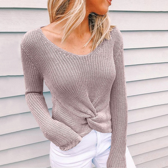 Sleeve Solid Color V-neck Sweater 5