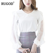 RUGOD 2018 Fashion Solid Butterfly Sleeve Women'S Shirt V-neck Womens Tops And Blouses New Casual White Lace Blouse
