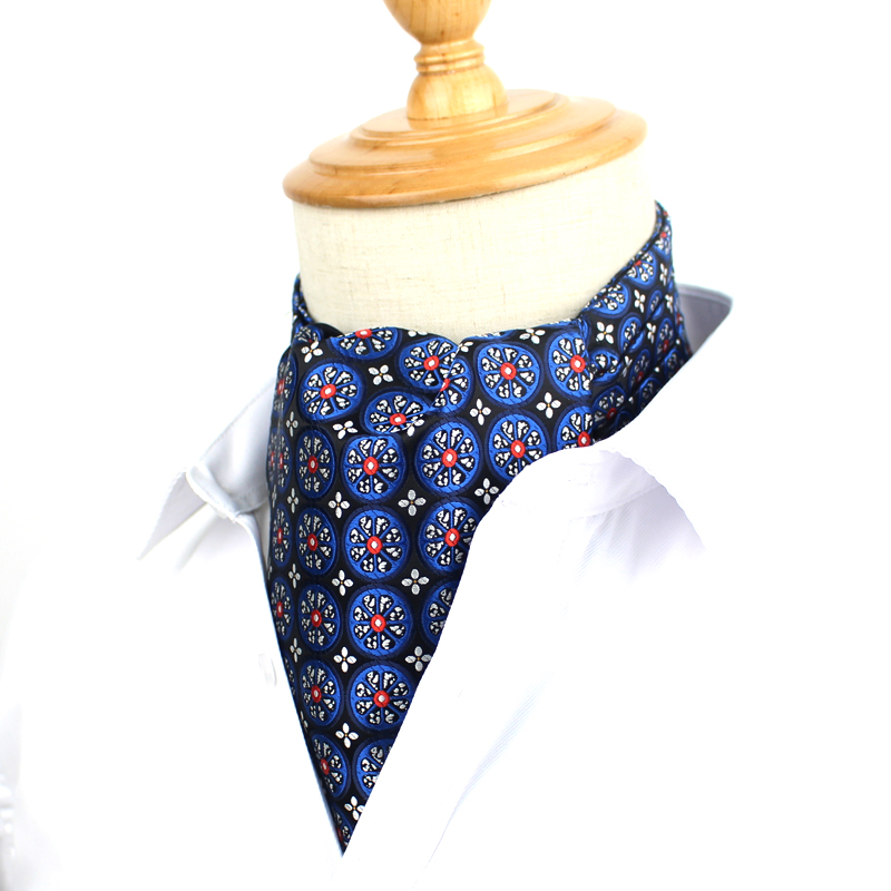 Fashion Classic Cravat Ties For Men Vintage Jacquard Cravat Ascot Necktie For Party British Gentleman Polyester Silk Neck Tie
