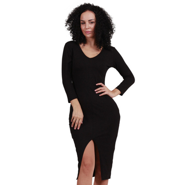 Cap Sleeve Knee Length Slit Black Dress