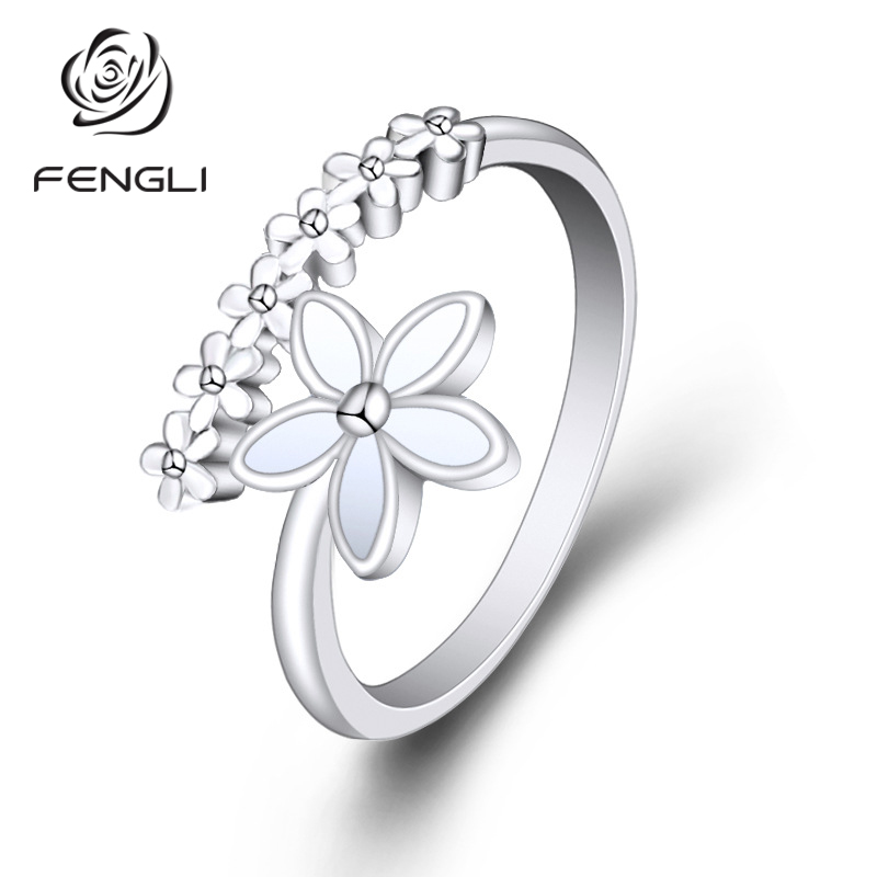 FENGLI Silver Plated Flower Ring Design Cute Fashion Opening for Women Gifts Adjustable charms Jewelry in Rings from Jewelry Accessories