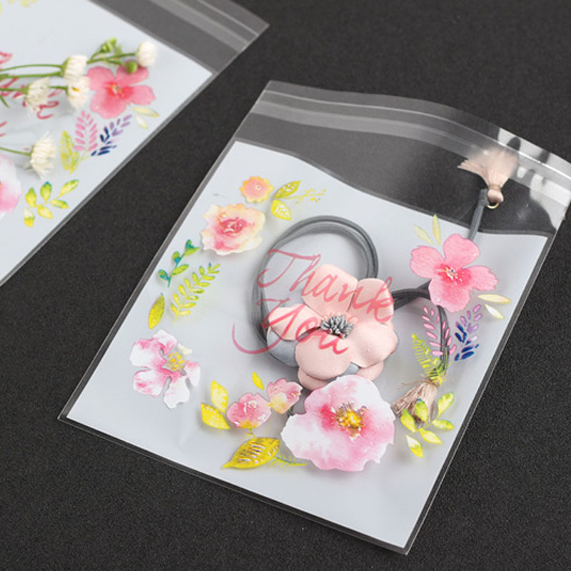 Wedding Gift Bag 100pcs 4 Sizes Flower Pattern Cookie Packaging Bag&Gift Candy Bags For Self Adhesive Snack Baking Package