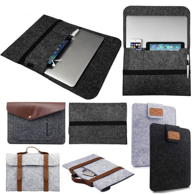 Wool Felt Laptop Sleeve Bag Pouch Case For Apple Macbook Air 11 Pro Retina 13 15 inch Soft Notebook Hand Bag Pocket Case Cover