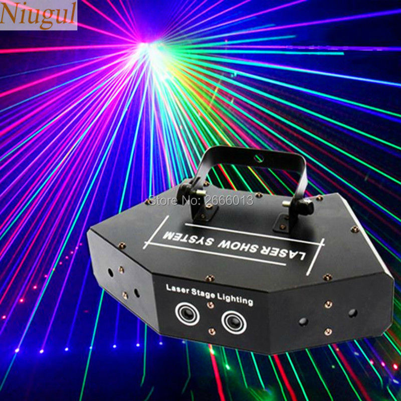 Niugul Scan Stage Laser Light RGB Full Color Six- Eye Beam Laser Club DJ Disco Laser Light Projector DMX512 Scan Laser Lights цена