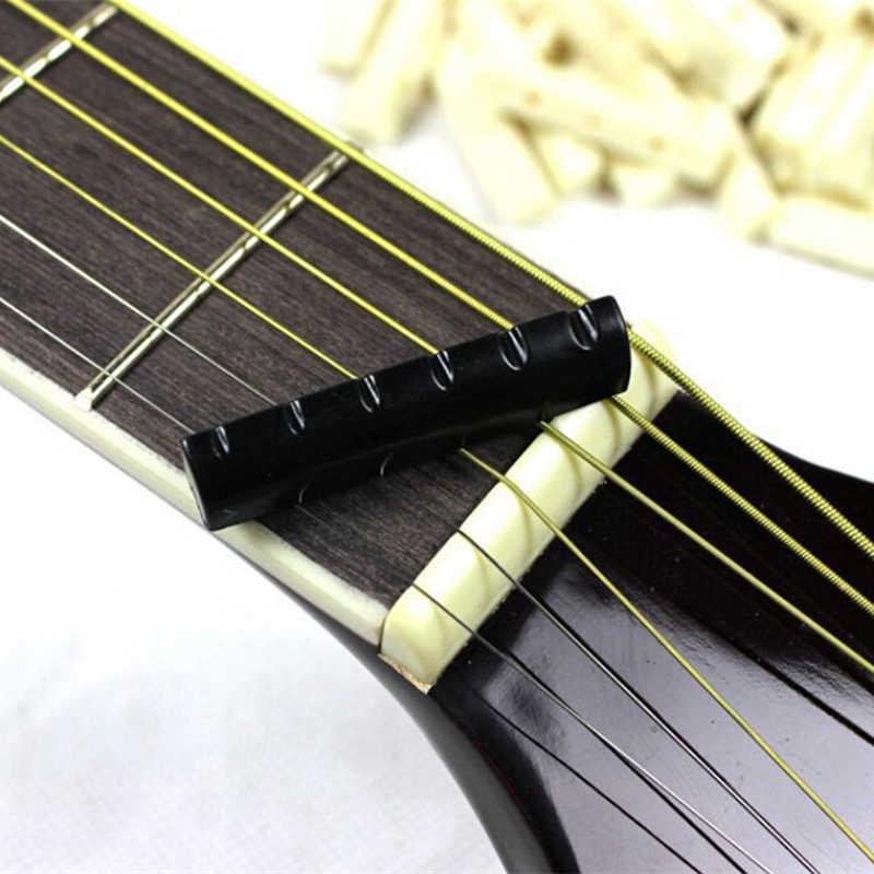 2 pièces buffle os ivoire guitare supérieure pont écrou selle pour 6 cordes guitare acoustique Instrument de musique remplacement pièce de rechange