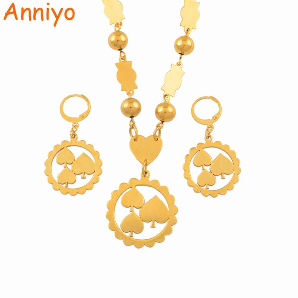Anniyo Marshall Pendant Ball Beads Necklaces Earrings Jewelry sets for Woman Stainless Steel Micronesia Kiribati Gift #051521