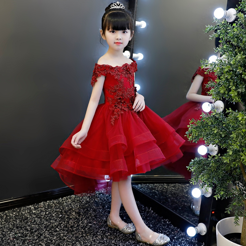 2018Summer New Baby Girls Elegant Wine-Red Birthday Wedding Evening Party Lace Flowers Princess Dress Children Teens Dance Dress