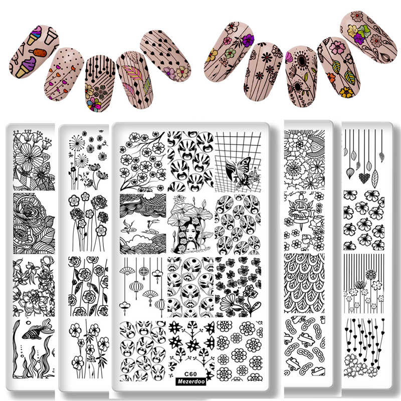 Stamping Plates Butterfly Skull Peking Opera 10pcs/lot Mutil 3D Diy Nail Art Image Stencil Stamp Template Plate Polish Manicure