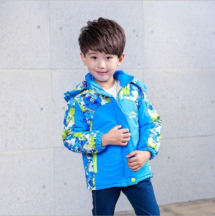 Детская одежда осеннее пальто для девочек двухслойные водонепроницаемые ветрозащитные куртки для мальчиков теплая детская одежда на осен...