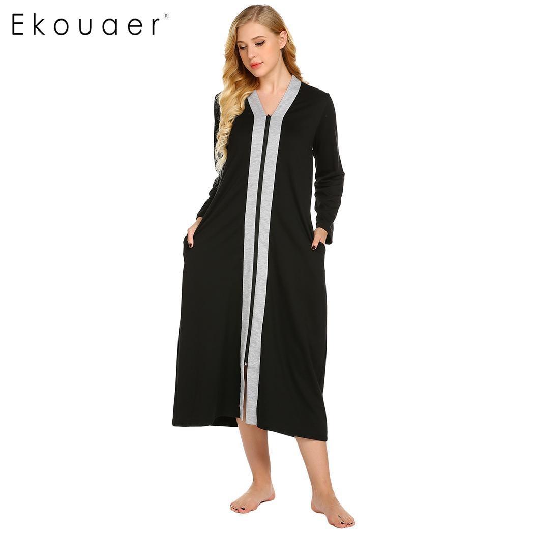 1a492b738 Ekouaer Longa Camisola Mulheres Outono Inverno Sleepwear Vestido Ocasional  Com Decote Em V Com Zíper Camisola Solta Feminino Chemise Sleepshirts