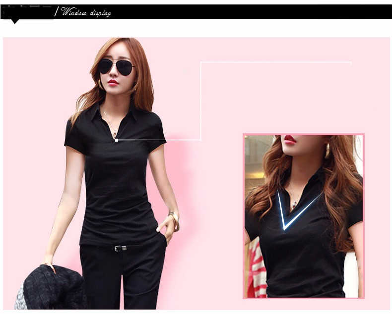 Summer Polo Shirt Women 2016 New Short Sleeve Solid Slim Polos Mujer Shirts Tops Fashion Plus Size Polo Femme 5 Color A192  h