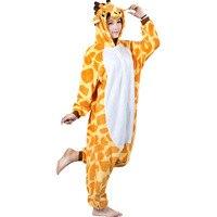 Giraffe Unisex Adult Flannel Hooded Pajamas Cosplay Cartoon Cute Animal Onesies Sleepwear For Women Men