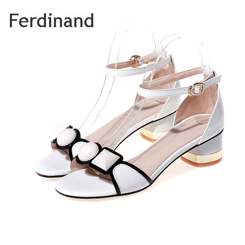 Fashion Genuine leather women shoes Summer causal sandals Mixed color Pink White Ladies high heel shoes Peep toe Buckle women genuine leather sandals fashion pointed toe causal shoes buckle solid color black pink orange spring shoes square heel