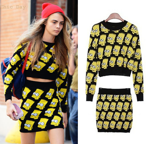 2013 New Arrival Fashion Womens Sweater Dress Suit  Bart Simpson Print Knitted Cropped Top Jumper Sweater Skirt Free Shipping