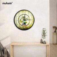 Muhsein Best Deal New European Style Vintage Creative Round Wood Wall Clock Quartz Bracket Clock Unique
