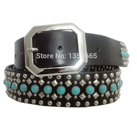 Genuine Turquoise Stone Studded Fashion Cowhide Belt