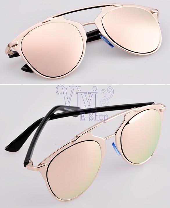 Populaire lunettes de soleil femme rose miroir,TRIOO Miroir Rose Or Lunettes  GB67