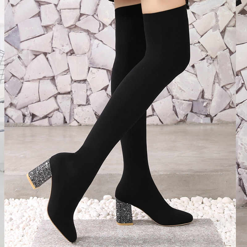 2018 Stretch Fabric Over The Knee Boots Women Sexy Square Toe Thigh High  Boots Black Ladies 9e95c1f91de7