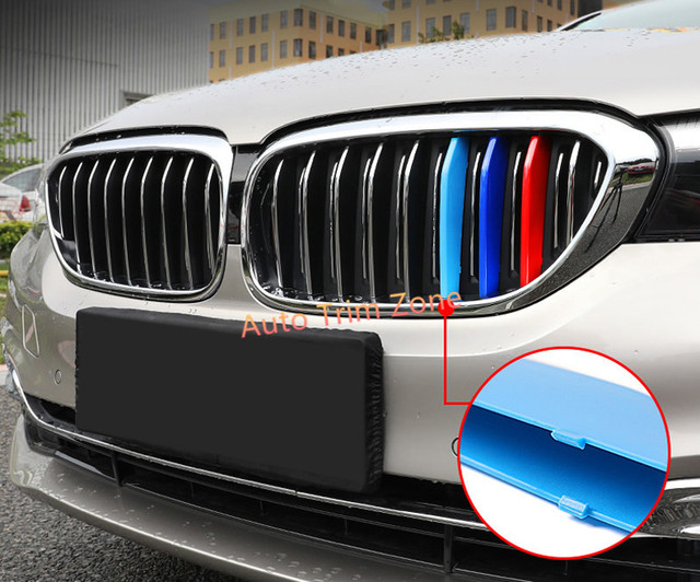 3 Colors Exterior 3PCS Outside Front Radiator Grille Bar Mouldings For BMW 5 Series 2017