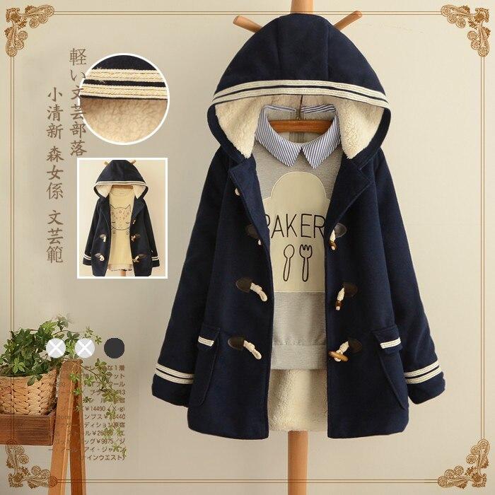 Mori Girls Winter Wadded Coat 2017 Stitching Sided Wear Cotton Coat Thick Warm Wadded Jacket Coats