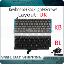 "New for Macbook Pro Retina 13"" A1502 UK English Keyboard with Backlight 2013 2014 2015 Year ME864 ME866 MGX72 MGX92 MF839 MF841"