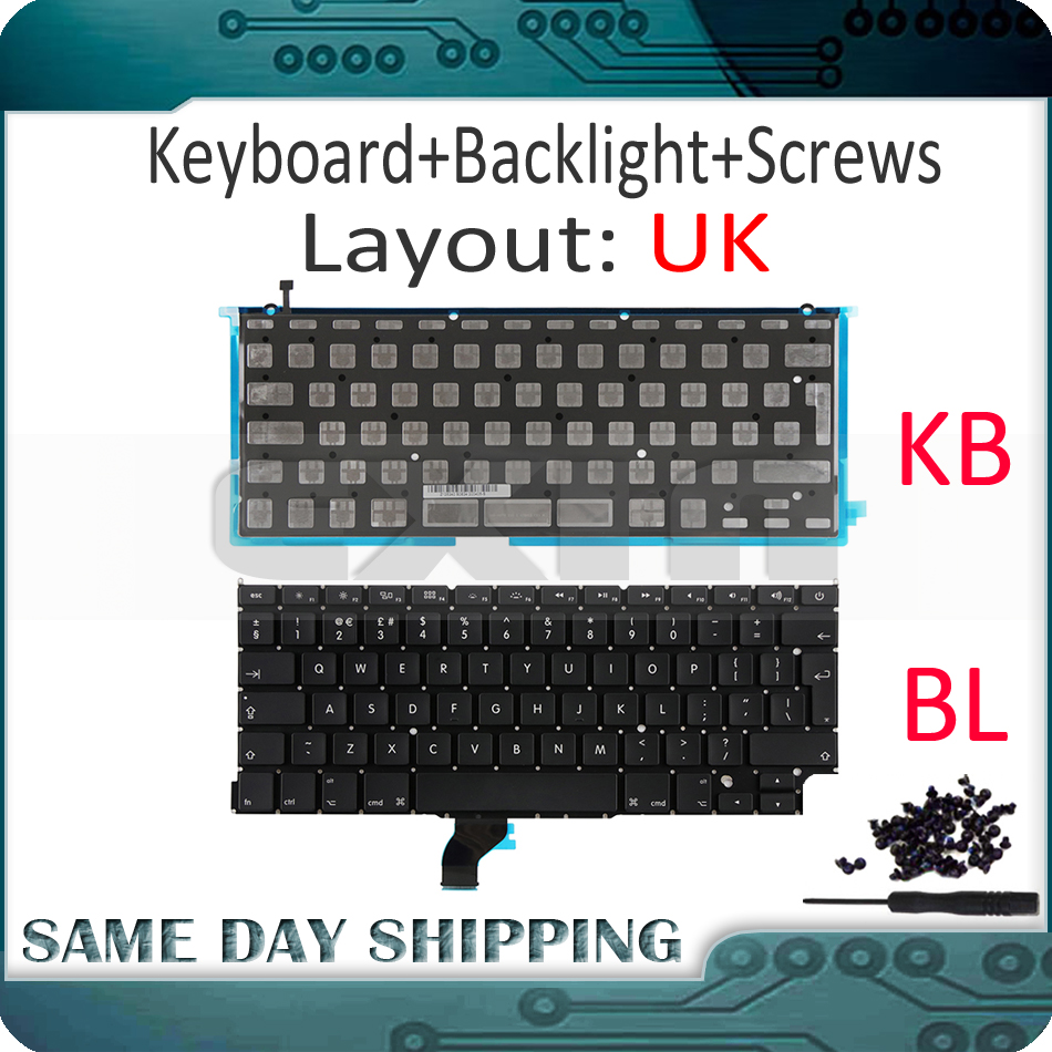 New for Macbook Pro Retina 13 A1502 UK English Keyboard with Backlight 2013 2014 2015 Year ME864 ME866 MGX72 MGX92 MF839 MF841 image