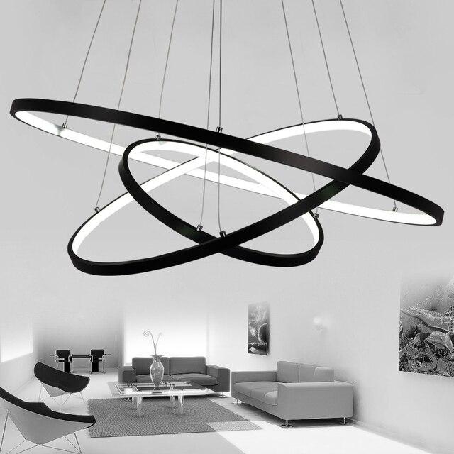 Modern Led Chandelier BlackWhite Rrings LED Lighting For Living Room Dining Kitchen Hanglamp Fixtures